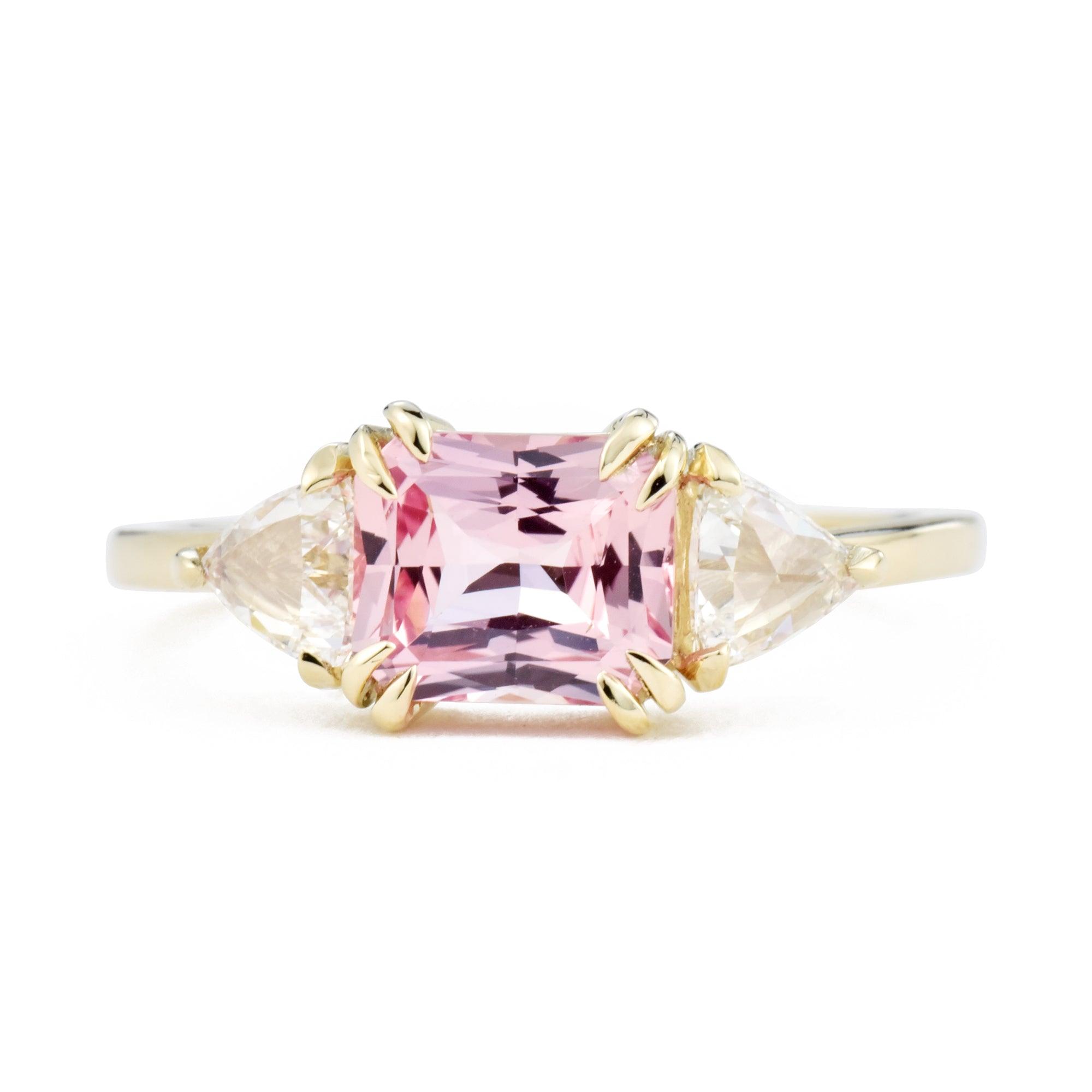 Zara Three-Stone Pink Sapphire & Diamond Engagement Ring