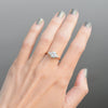 1.5ct Zara Round Three Stone Moissanite Engagement Ring shown on hand