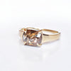 Astrid Reddish Brown Rose Cut Cushion Diamond Ring in beautiful lighting
