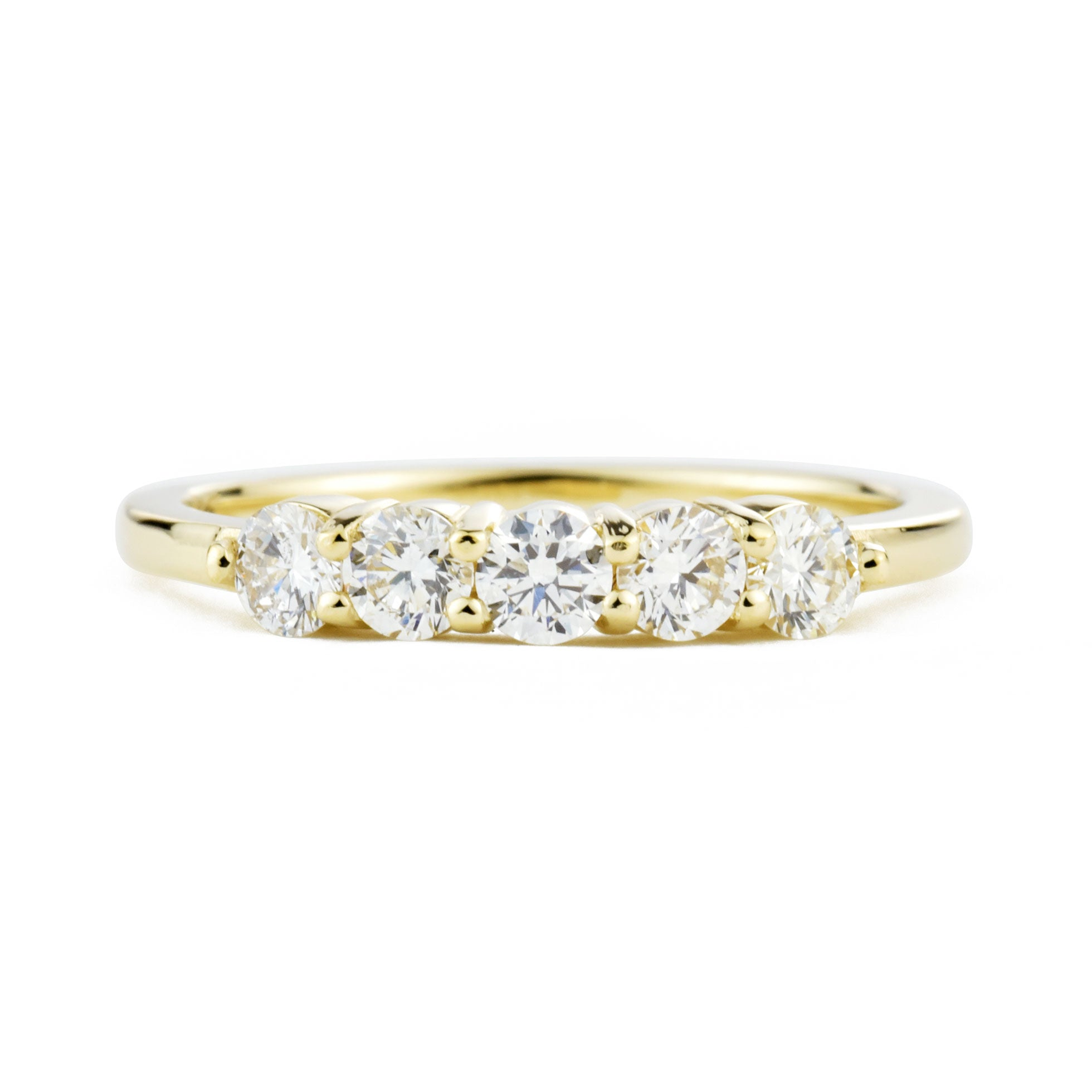 Lily Five Stone Diamond Ring in yellow gold shown from the front