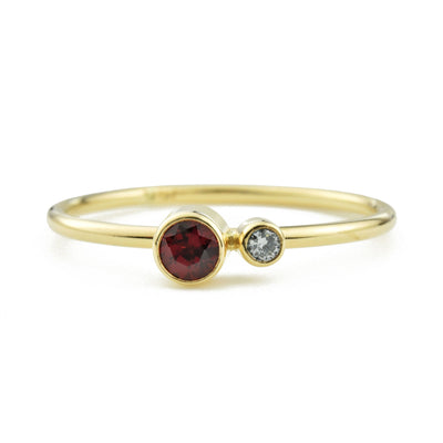Garnet Diamond Kiss Ring - January Birthstone