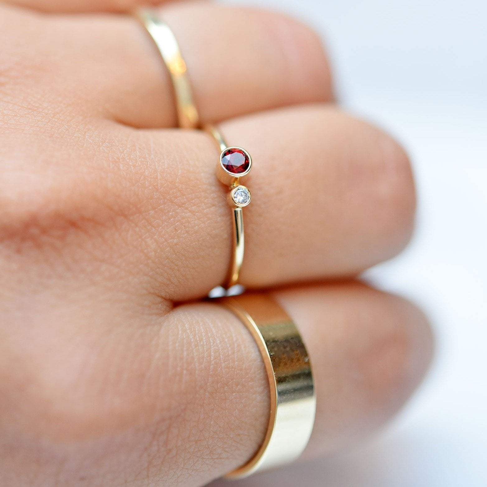 Garnet Diamond Kiss Ring