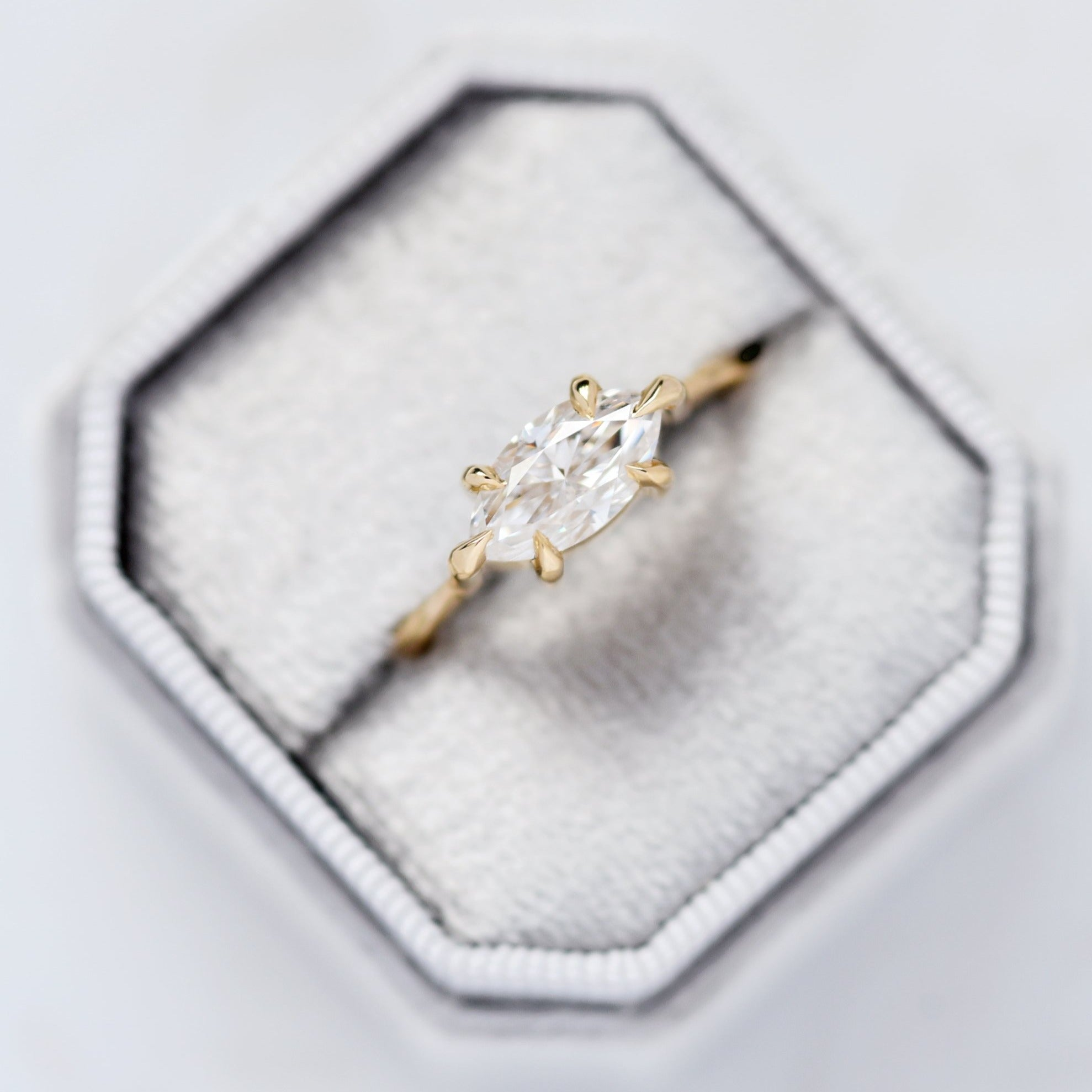 Marquise Moissanite Engagement Ring in yellow gold