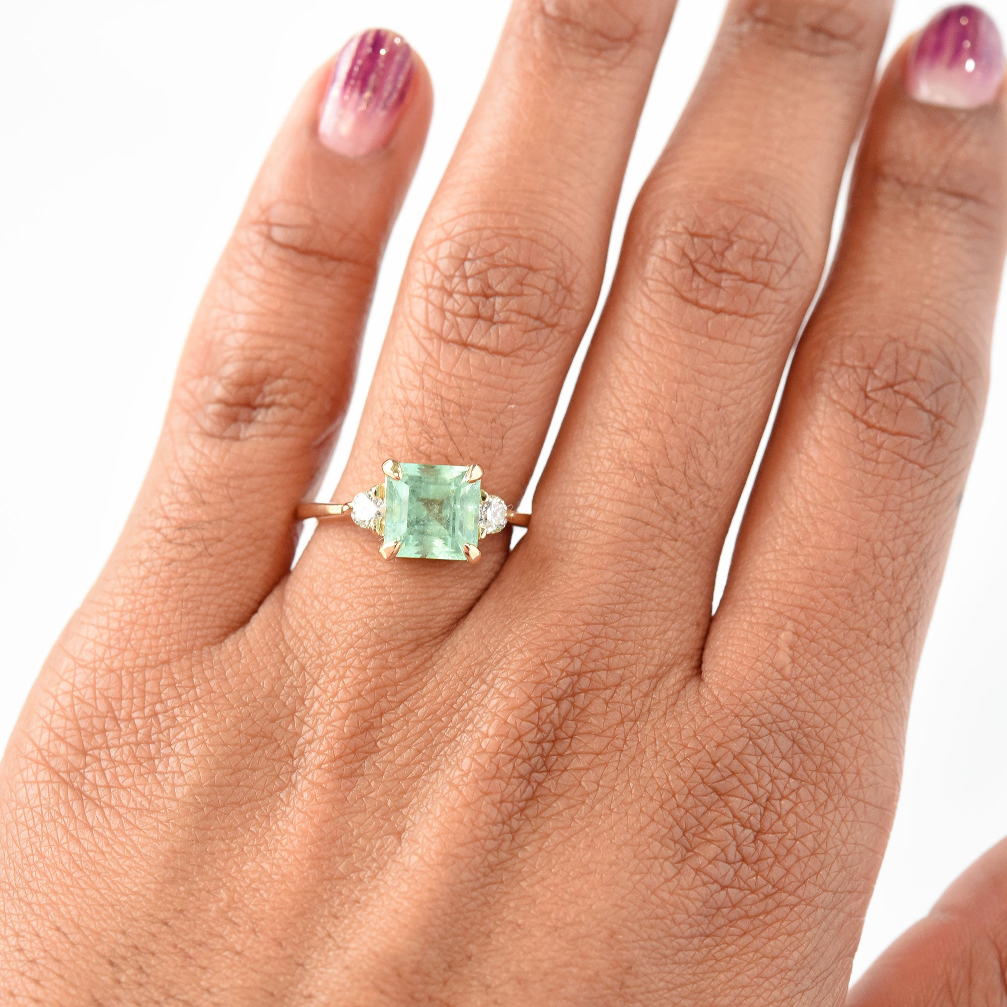 2.20ct Zara Three-Stone Russian Emerald & Diamond Engagement Ring (Size 6.5)