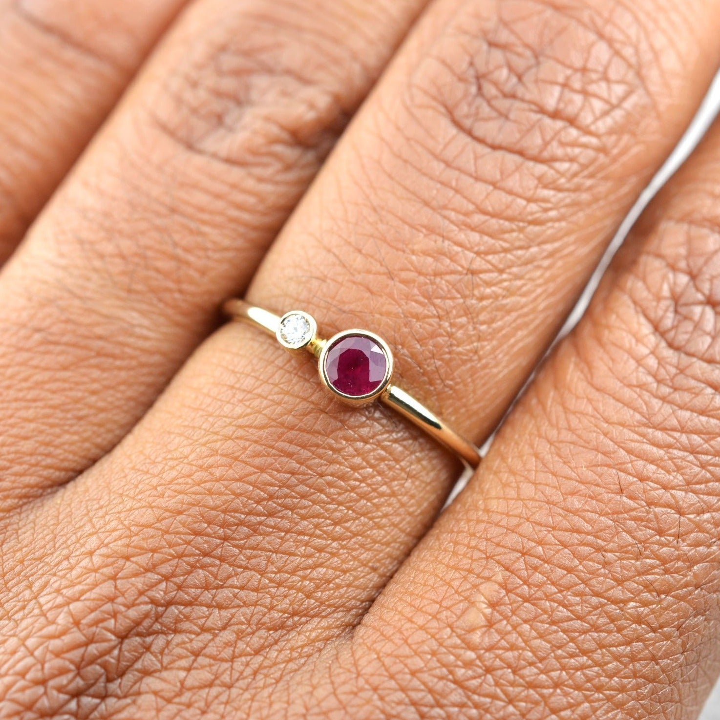 Ruby Diamond Kiss Ring - July Birthstone