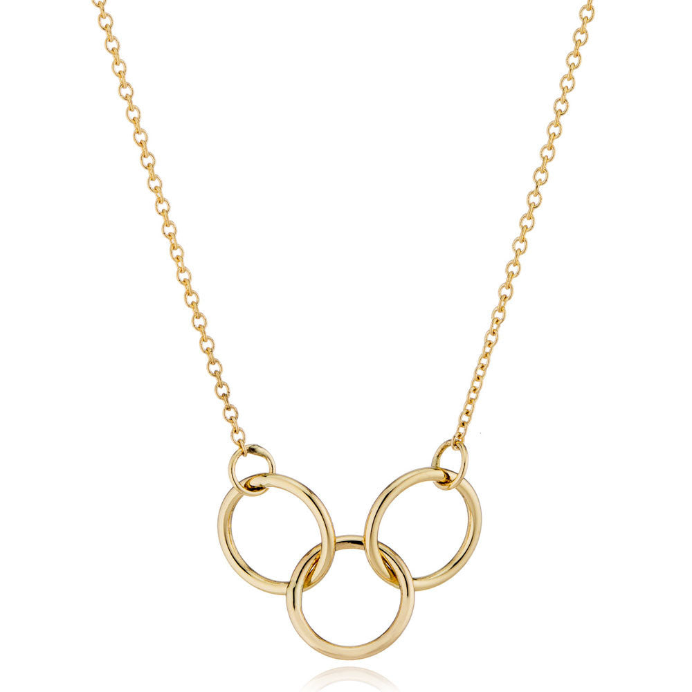 14K Gold Interlocking 3  Rings Necklace by Valerie Madison Jewelry