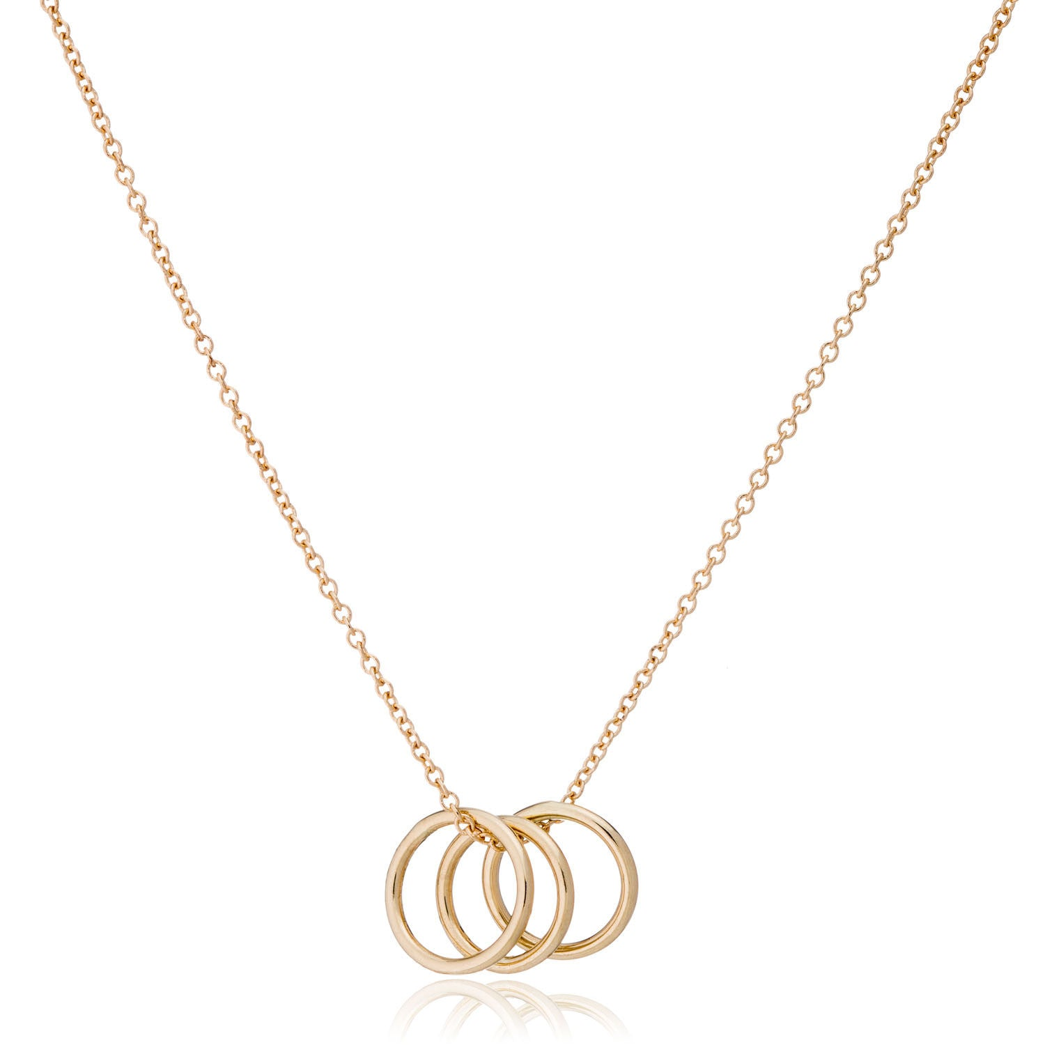 14K Gold Three Ring Necklace by Valerie Madison