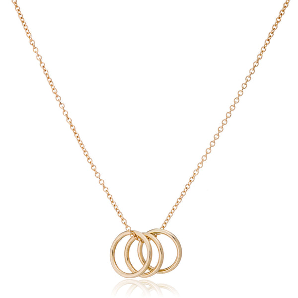 14K Gold Three Ring Necklace by LilyEmme Jewelry