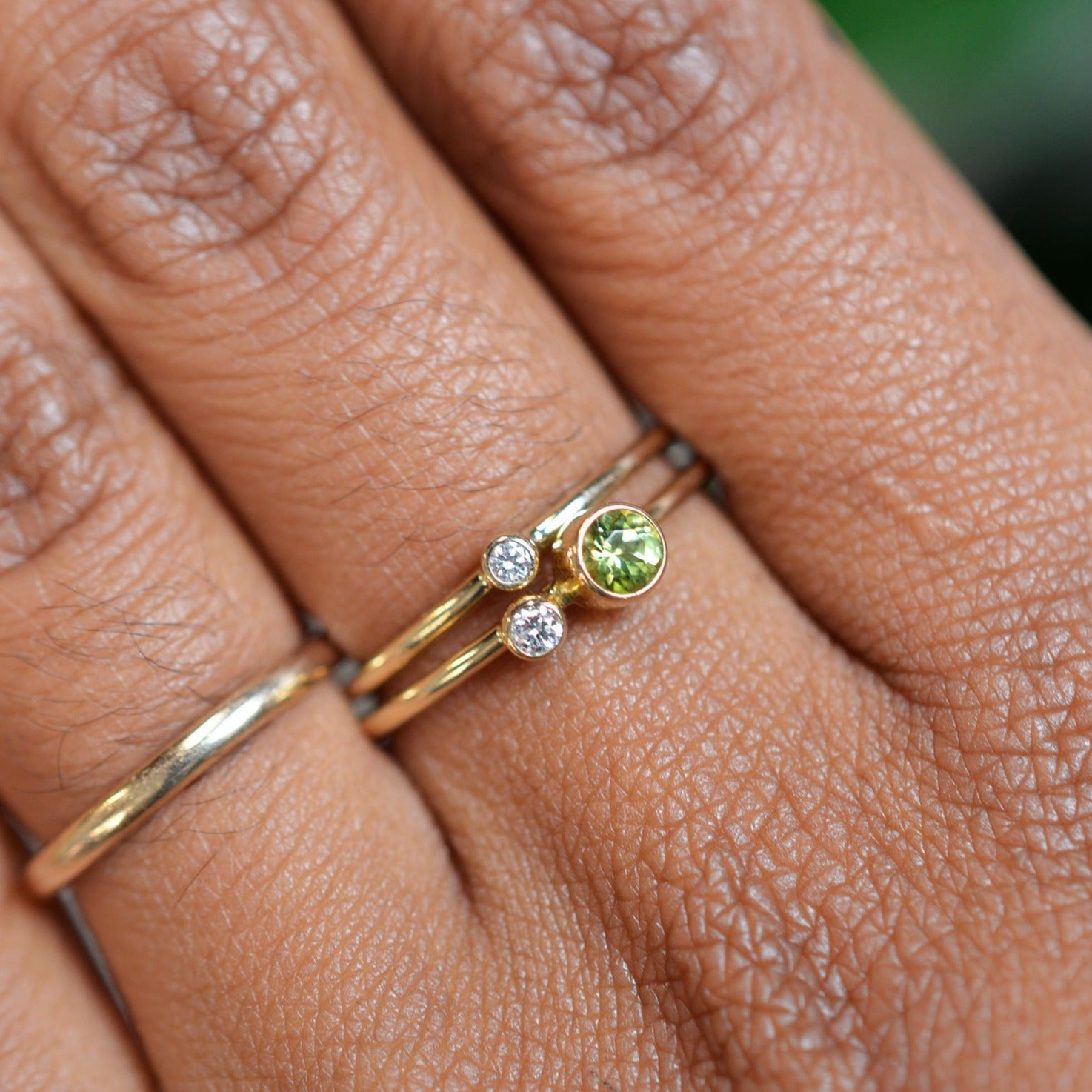 Peridot Diamond Kiss Ring