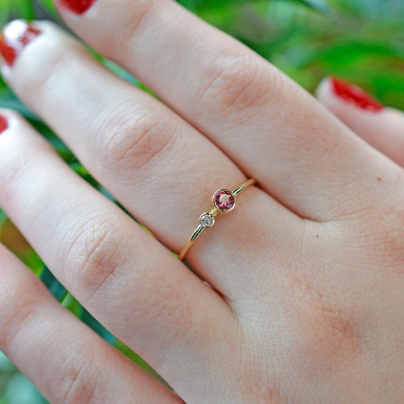 Pink Tourmaline Diamond Kiss Ring - October Birthstone