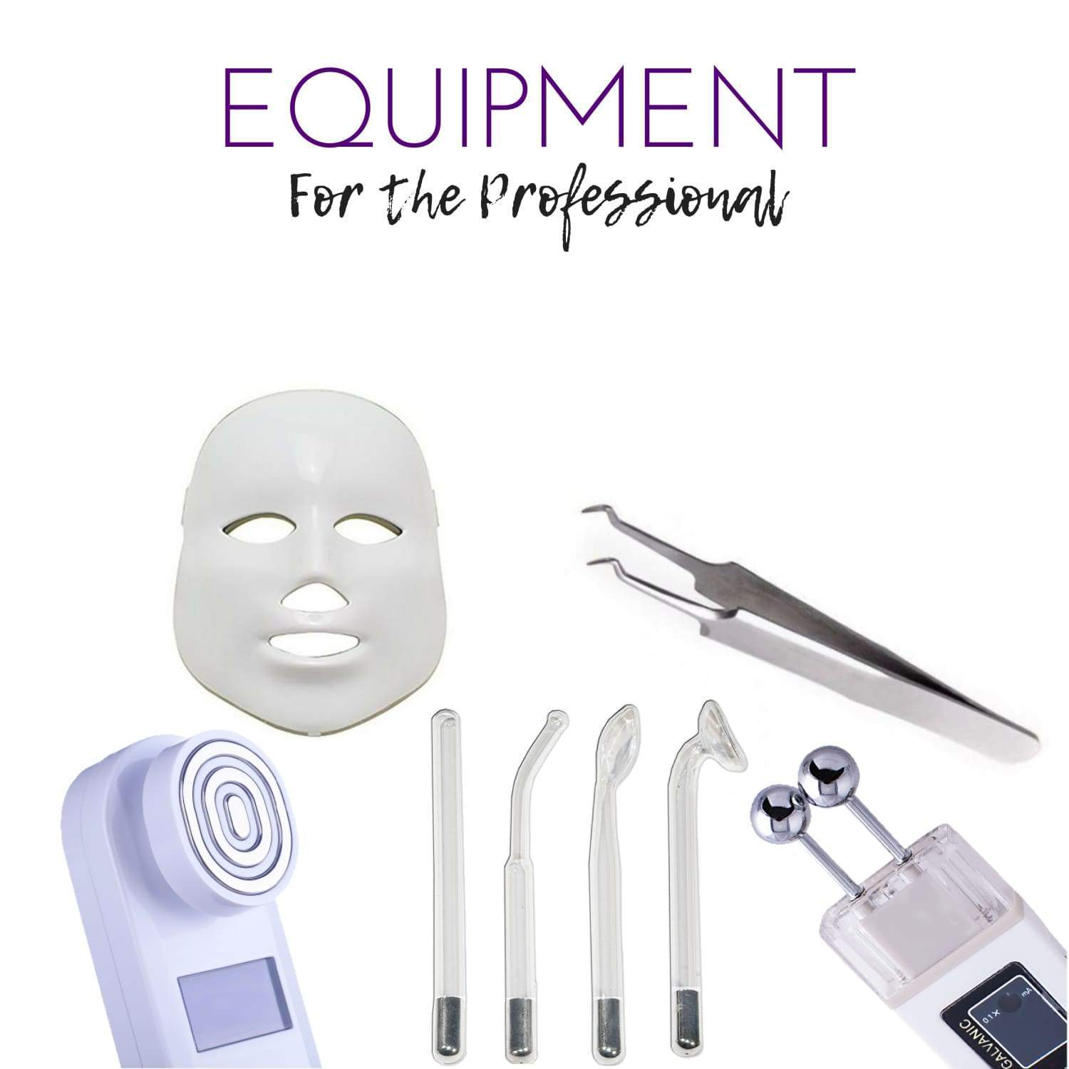 Esthetician supplies: masks, jade roller, multi-tool, skin scrubber, high-frequency machine, tweezers, manicure tool set, ice roller, EMS machine, electrode replacements, flex mitt, galvanic machine, massage cups, tweezer comb, MySkinBuddy tool