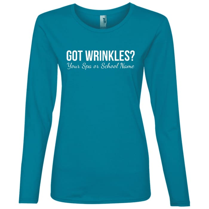 Customized Got Wrinkles Long Sleeve T-Shirt - Caribbean Blue / Small - T-Shirts