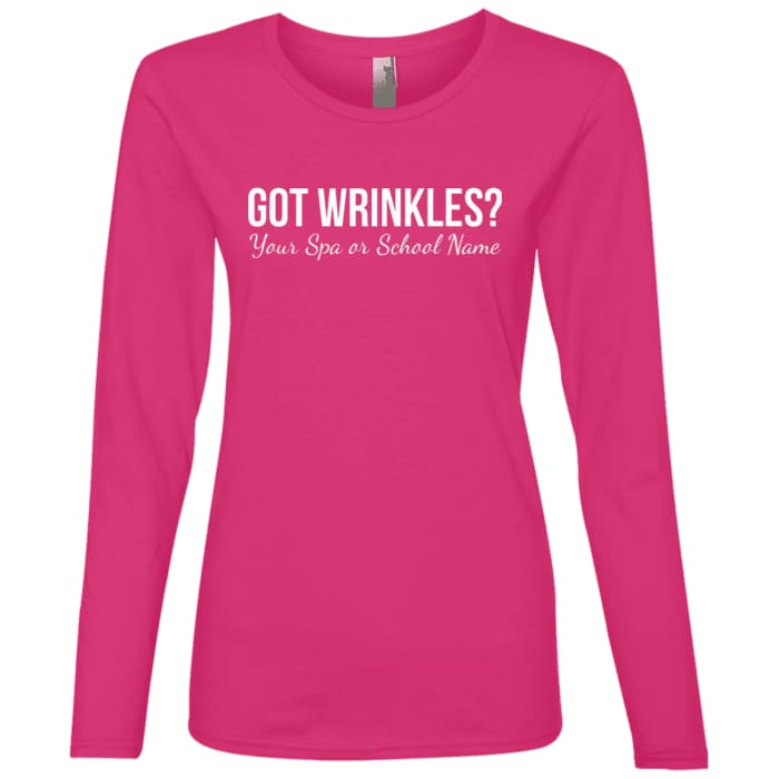Customized Got Wrinkles Long Sleeve T-Shirt - Hot Pink / Small - T-Shirts