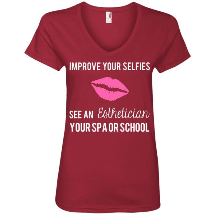 Customized Improve Your Selfies V-Neck T-Shirt - Independence Red / Small - T-Shirts