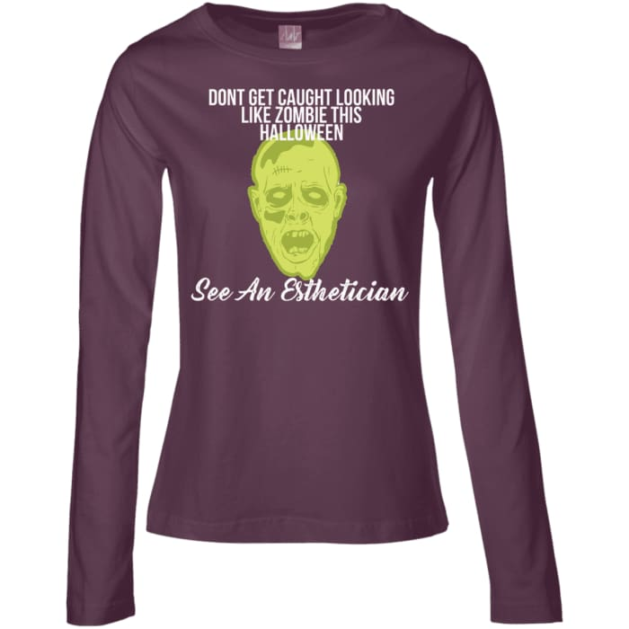 Dont Be A Zombie Halloween Shirt - Dont Be A Zombie Long Sleeve / Eggplant / Small - Apparel