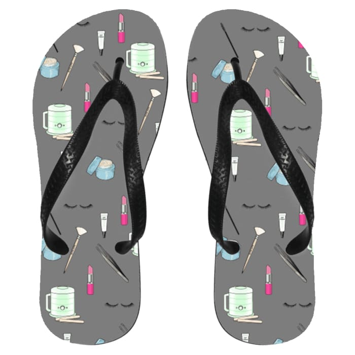 Esty Print Flip Flops - Flip Flops - Medium / Gray / One Size - Apparel