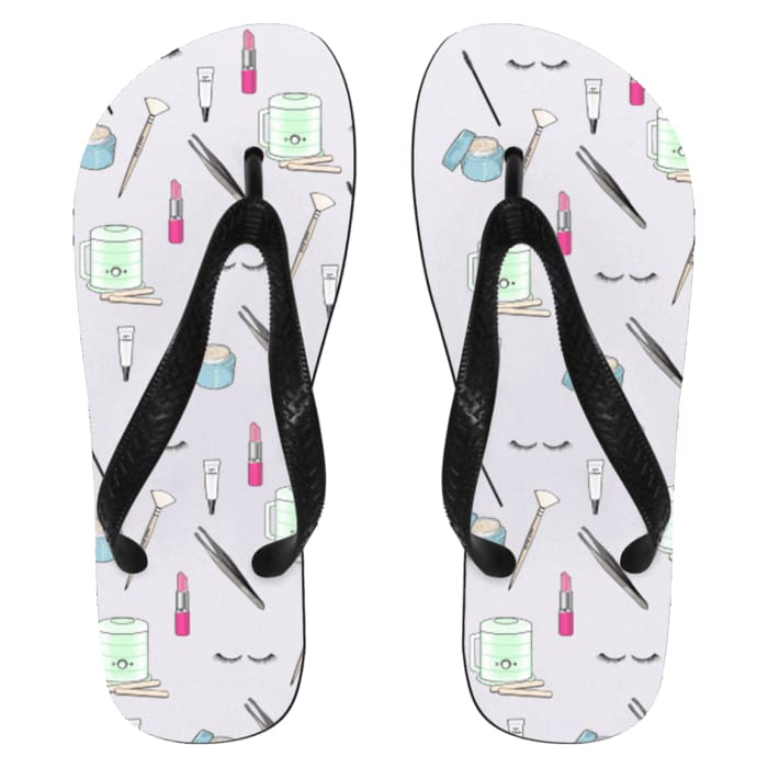Esty Print Flip Flops - Flip Flops - Small / White / One Size - Apparel