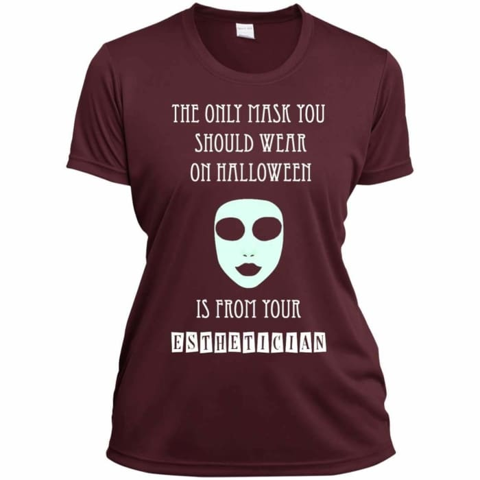 Halloween Mask T-Shirt - Ladies Short Sleeve Moisture-Wicking Shirt / Maroon / X-Small - Apparel