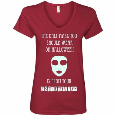 Halloween Mask T-Shirt - Ladies V-Neck Tee / Independence Red / Small - Apparel