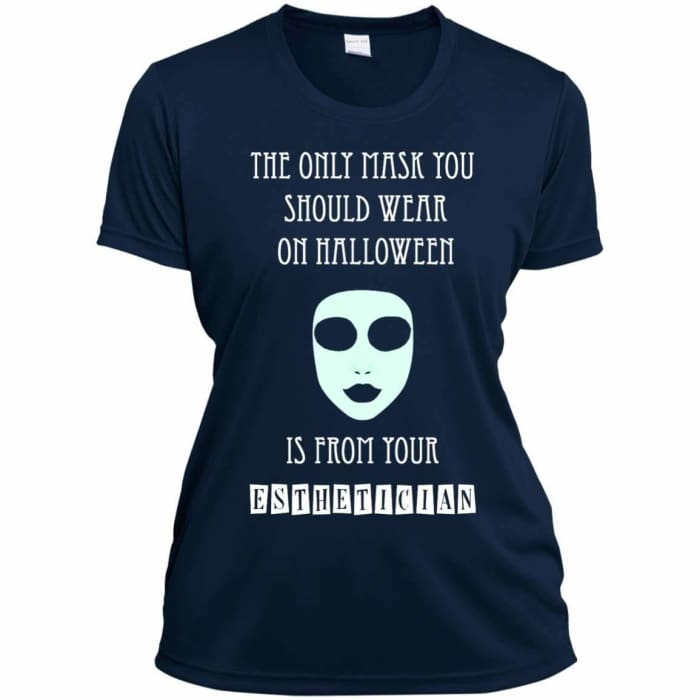 Halloween Mask T-Shirt - Ladies Short Sleeve Moisture-Wicking Shirt / True Navy / X-Small - Apparel