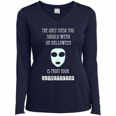 Halloween Mask T-Shirt - Ladies Long Sleeve Performance Vneck Tee / True Navy / X-Small - Apparel