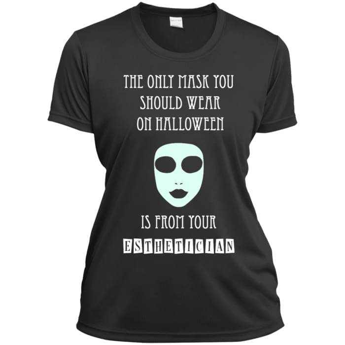 Halloween Mask T-Shirt - Ladies Short Sleeve Moisture-Wicking Shirt / Iron Grey / X-Small - Apparel