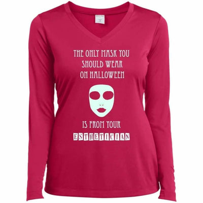 Halloween Mask T-Shirt - Ladies Long Sleeve Performance Vneck Tee / Pink Raspberry / X-Small - Apparel
