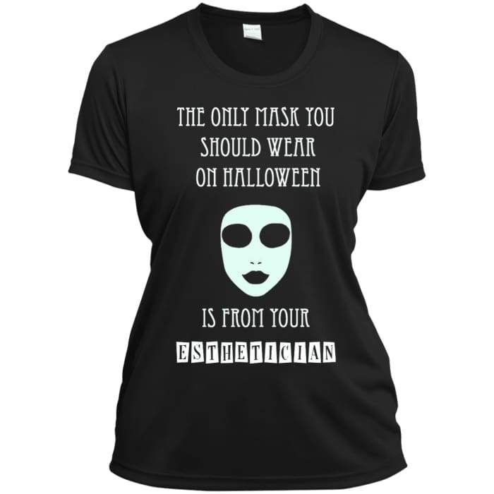 Halloween Mask T-Shirt - Ladies Short Sleeve Moisture-Wicking Shirt / Black / X-Small - Apparel