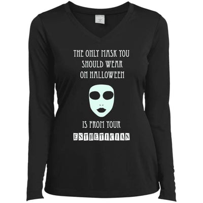 Halloween Mask T-Shirt - Ladies Long Sleeve Performance Vneck Tee / Black / X-Small - Apparel