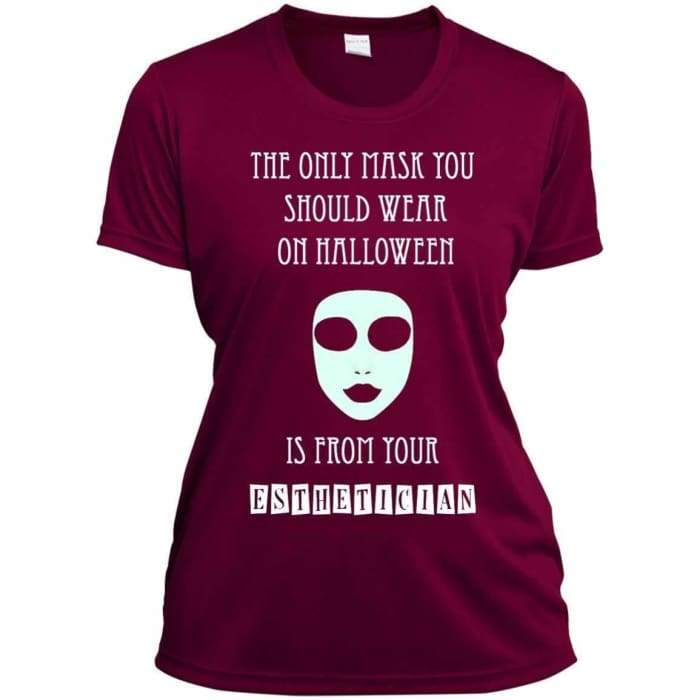 Halloween Mask T-Shirt - Ladies Short Sleeve Moisture-Wicking Shirt / Cardinal / X-Small - Apparel