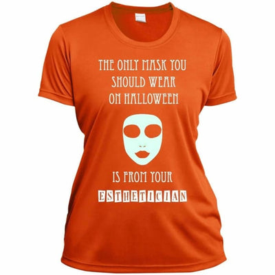 Halloween Mask T-Shirt - Ladies Short Sleeve Moisture-Wicking Shirt / Orange / X-Small - Apparel