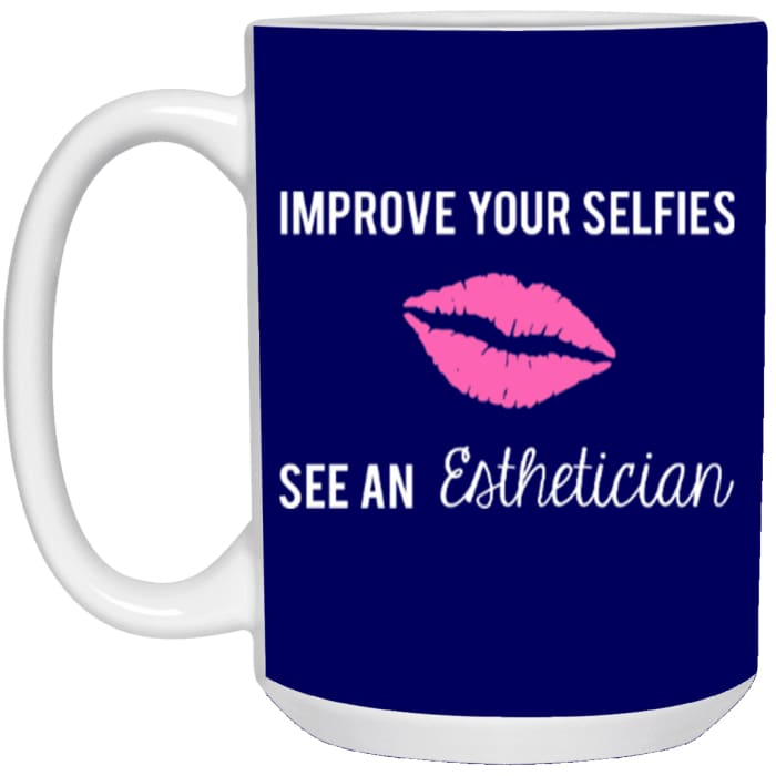 Improve Your Selfies Mugs - Mug - 15Oz / Navy / One Size - Apparel