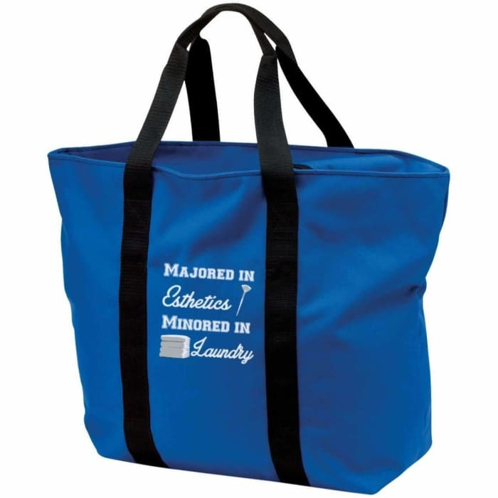 Majored In Esthetics Tote Bag - Royal/black / One Size - Bags