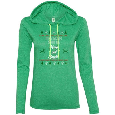 May Your Skin Be Merry And Bright T-Shirt Hoodie - Heather Green/neon Yellow / Small - T-Shirts