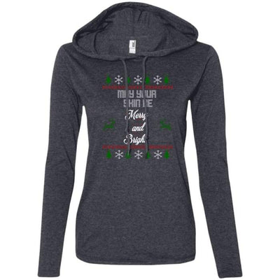 May Your Skin Be Merry And Bright T-Shirt Hoodie - Heather Dark Grey/dark Grey / Small - T-Shirts