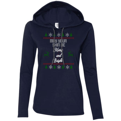 May Your Skin Be Merry And Bright T-Shirt Hoodie - Navy/dark Grey / Small - T-Shirts