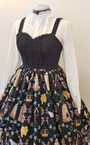 Black Royal Bee Jumperskirt (runway sample size 2)