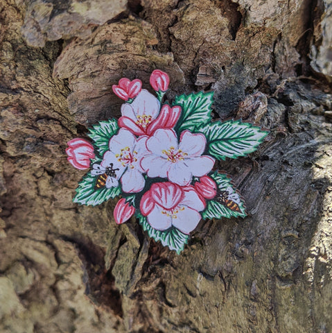 Apple blossoms brooch