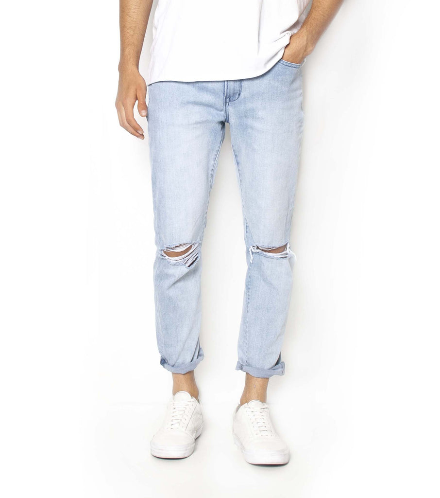 Pipes Crop Jeans -Broken Blue Trash - Ziggy Denim