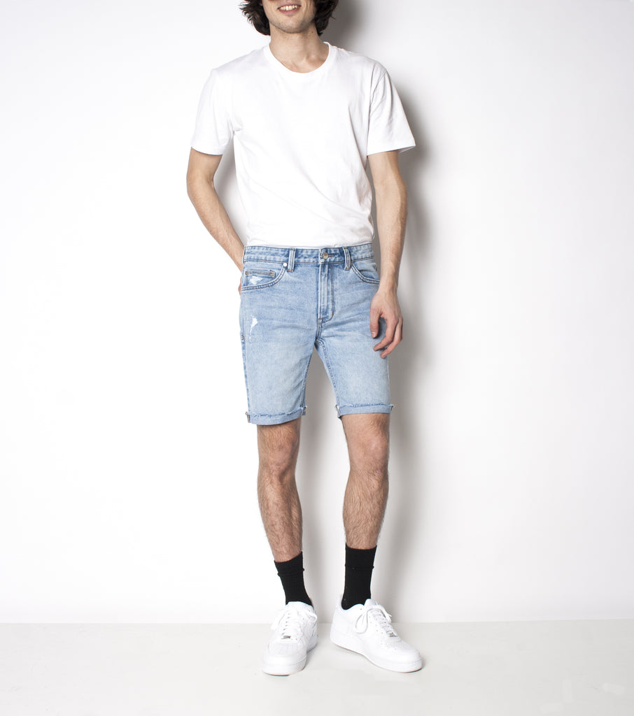 Drainer Short - Vintage Beach - Ziggy Denim mens denim short with light trashing and raw edge light denim ziggy denim