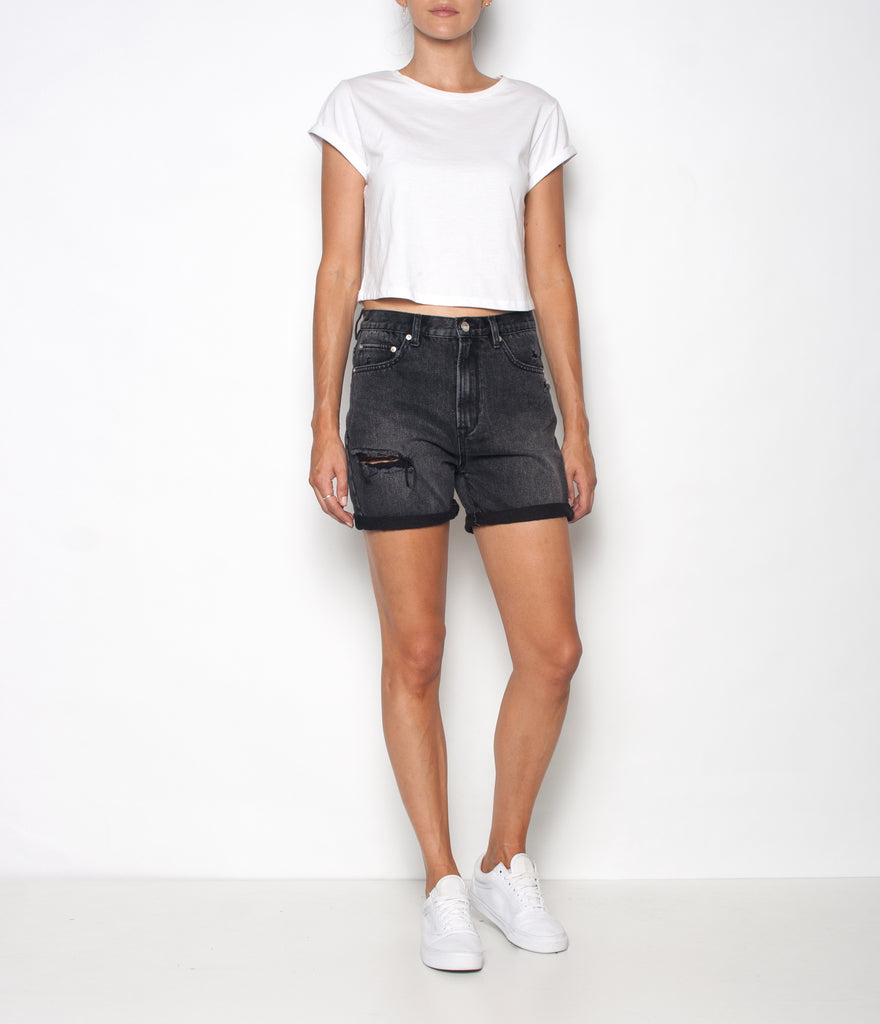 Rebound Denim Short- Rigid - Dusty Black - Ziggy Denim