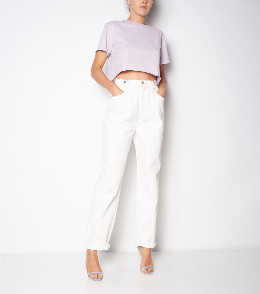Hi & Loose Jean - Coconut - Ziggy Denim high waistd white denim baggy ejan with raw hem and button detailing on the waist ziggy denim