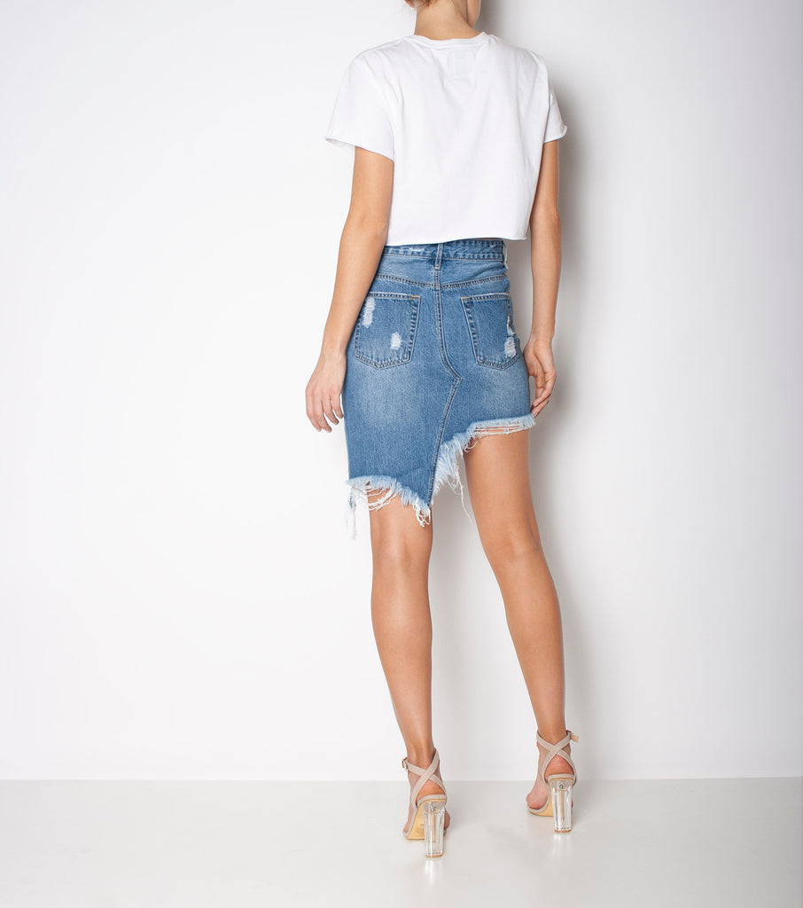 Step Mum Skirt - All Time Blues Trash - Ziggy Denim dark denim with heavy trashing and angled hem ziggy denim