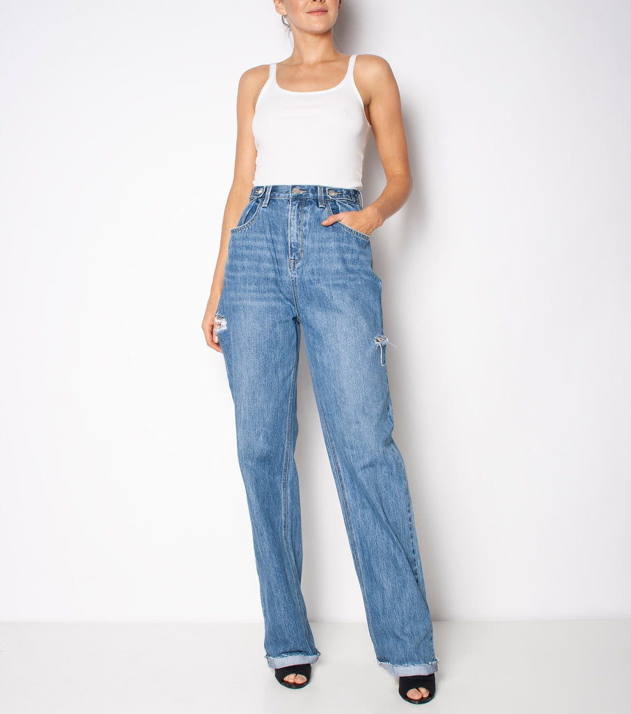 Hi & Loose Jean - All Time Blues Slash - Ziggy Denim baggy jean high waistd denim wash with cuts in the side and raw hems ziggy denim