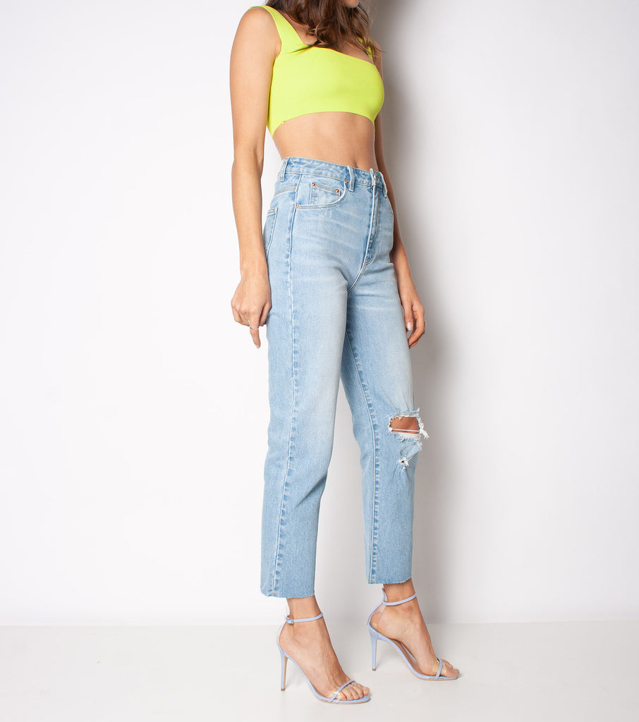 Hi Mum Stretch - Bright Waters Trash - Ziggy Denim straight leg high waisted denim jean with rip in the knee and raw hem ziggy denim