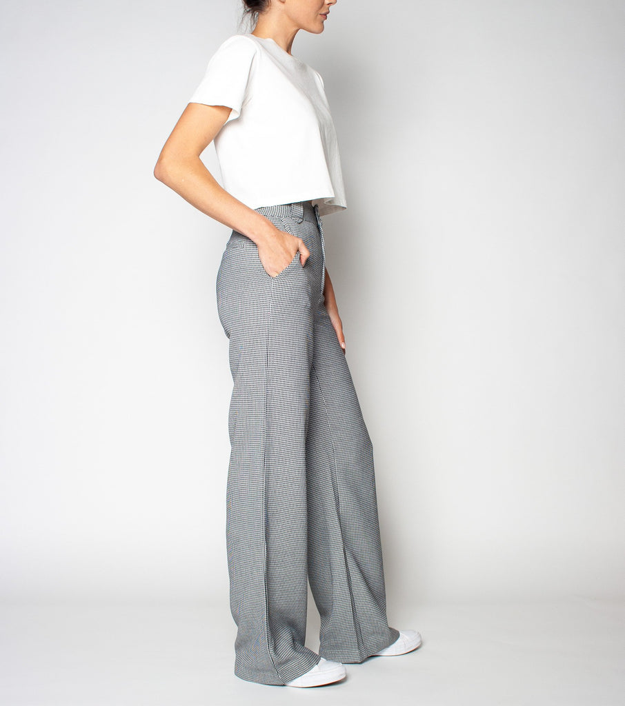 WIDE LEG  PANT- BLACK/WHITE HOUNDSTOOTH