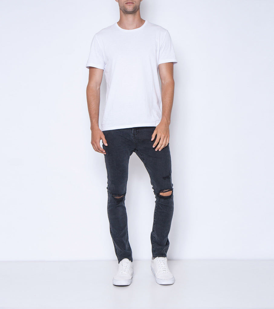 Pipes Skinny Jean - Black Radler Trash - Ziggy Denim