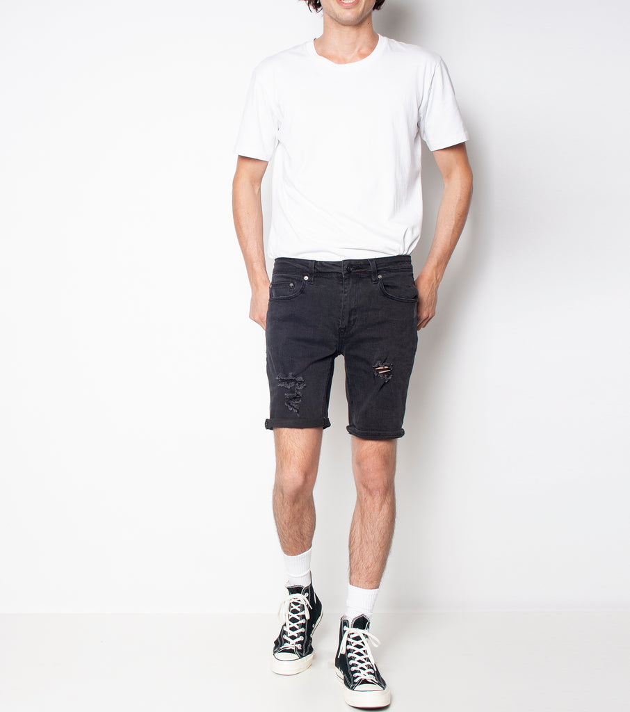 Drainer Short - Black Haze Trash - Ziggy Denim black denim mens short with rips trashing ziggy denim