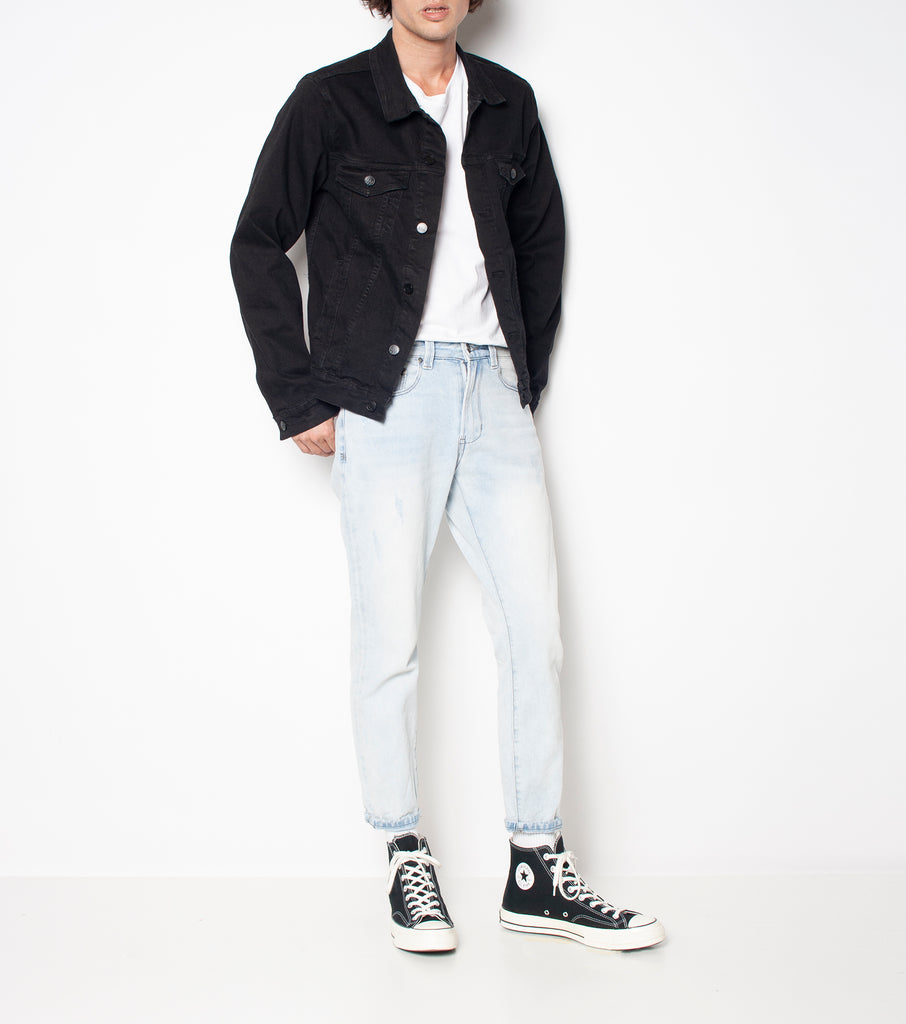 Lorry Jacket - Gravel Black - Ziggy Denim black denim jacket simple staple piece must have wardrobe black denim jacket oversized ziggy denim