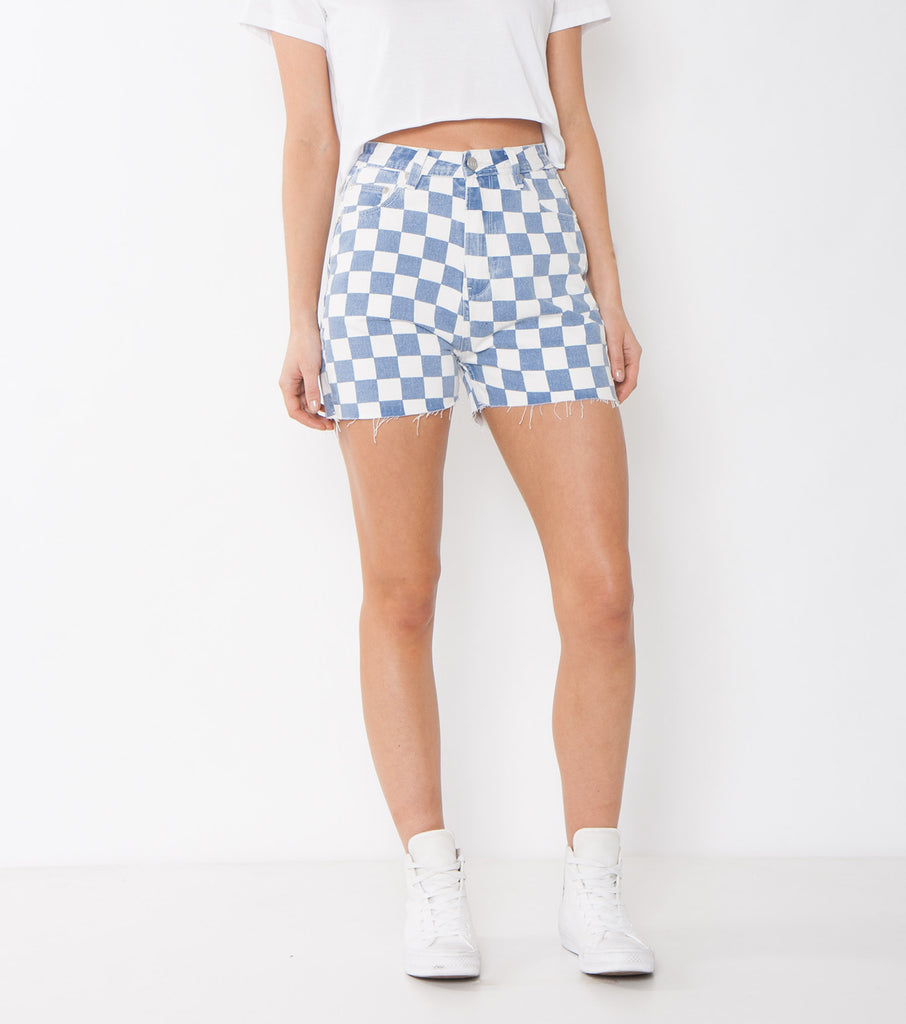 Hi Mum Short - Cobalt/ White - Ziggy Denim denim cu toff checkedered high waisted jean shorts ziggy denim